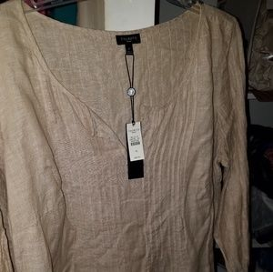 Talbots NWT tan blouse with pintucking 1X
